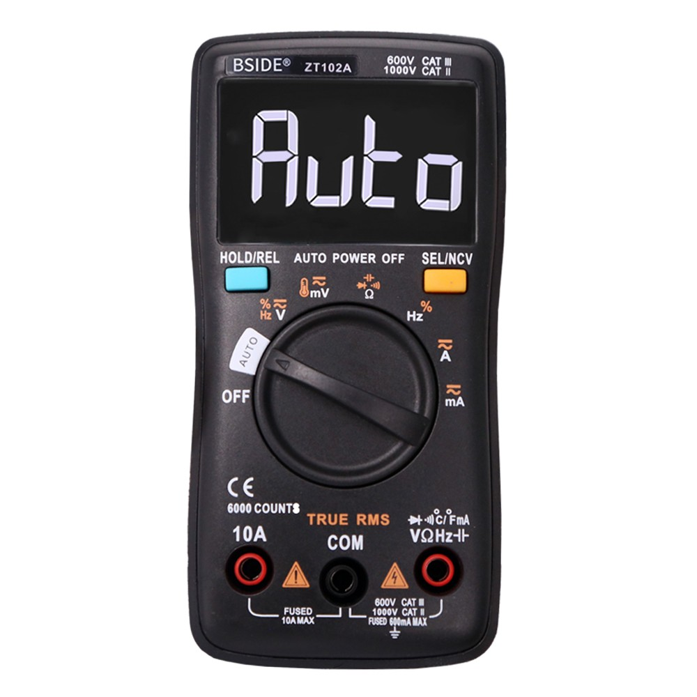 BSIDE 6000 Counts Digital Multimeter AC/DC Voltage Current  Portable Handheld Ammeter Ohm Capacitance Temperature Tester Auto Range Electrical Test Diagnostic Machine with True RMS EBTN LCD Display