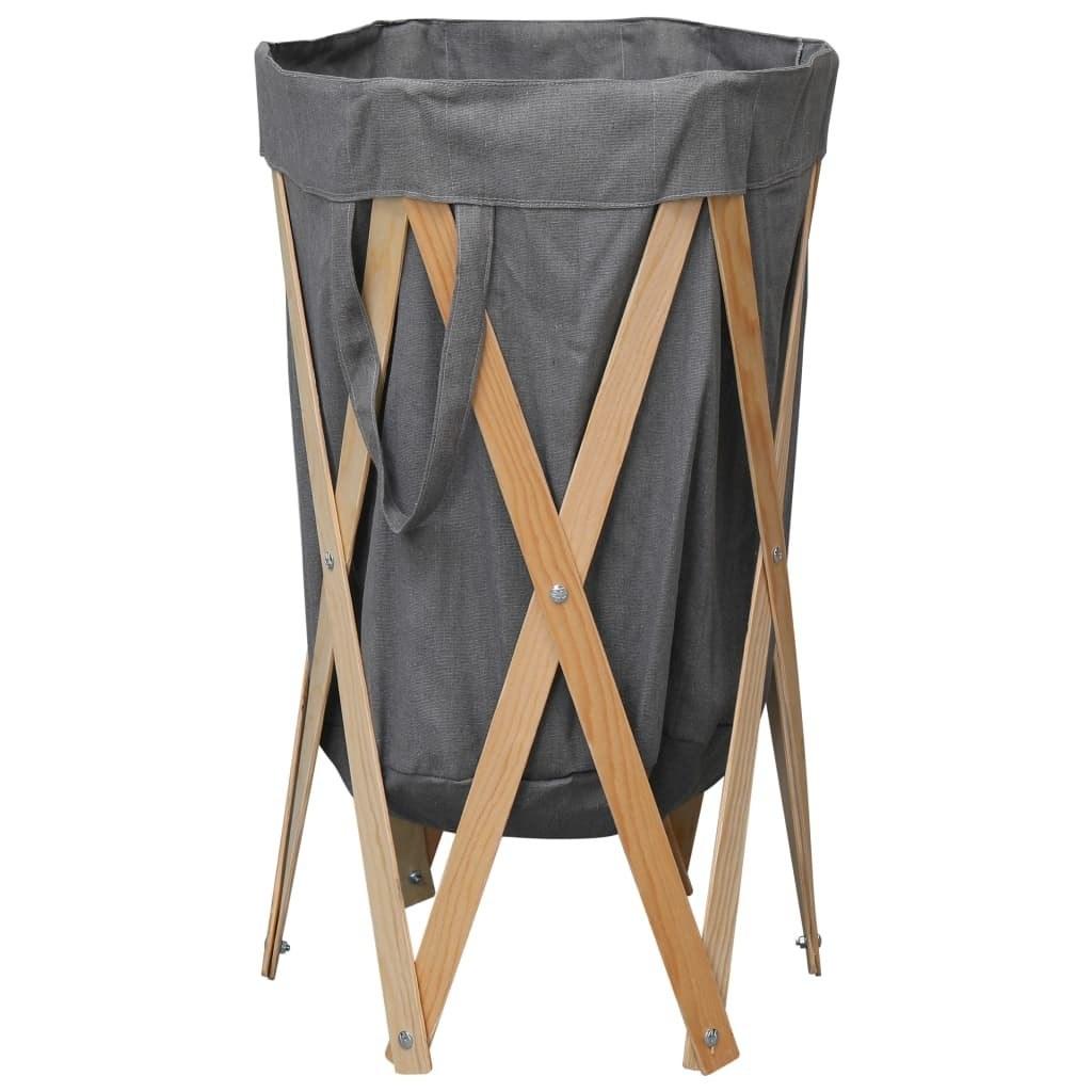 Laundry Basket Foldable Gray Wood and Fabric