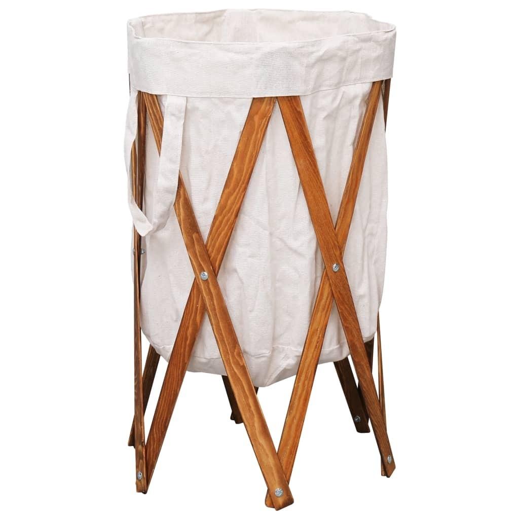 Laundry Basket Folding Cream Wood and Fabric
