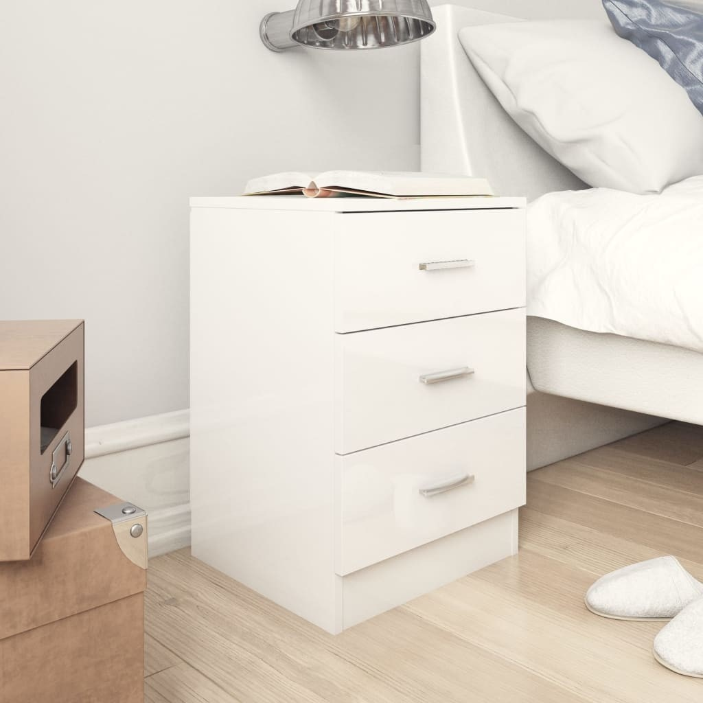 Bedside tables 2 units agglomerated bright white 38x35x65 cm