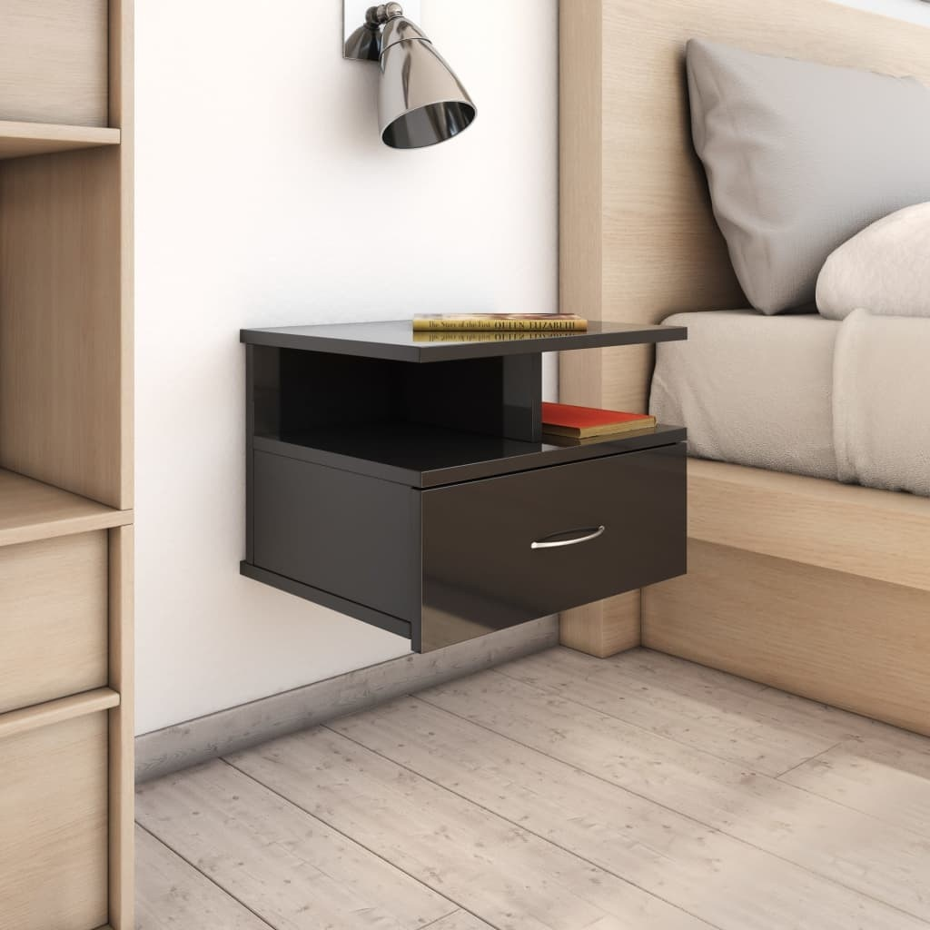 Glossy Black 40x31x27 cm Hanging Bedside Table in Chipboard