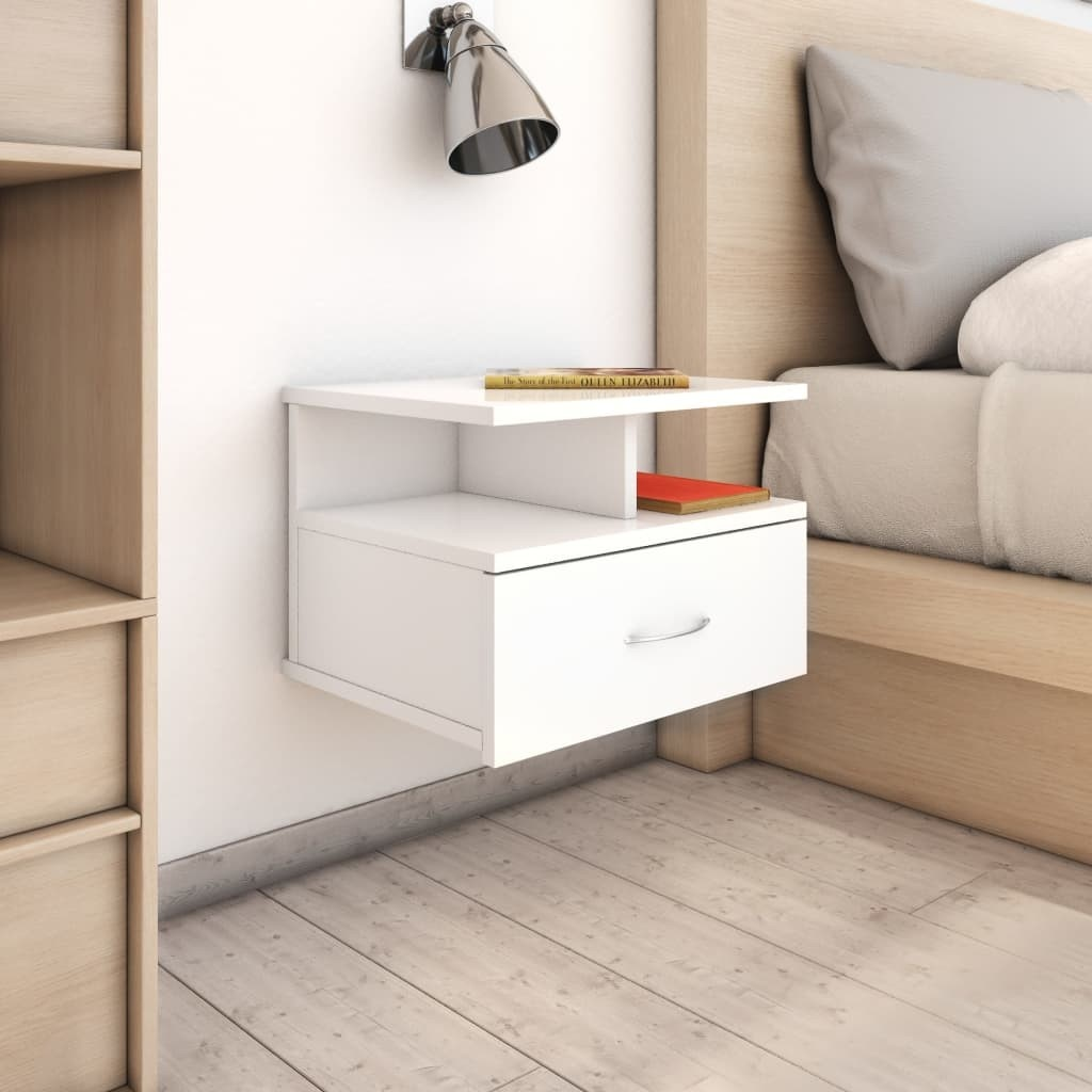 Glossy White 40x31x27 cm Hanging Bedside Table in Chipboard