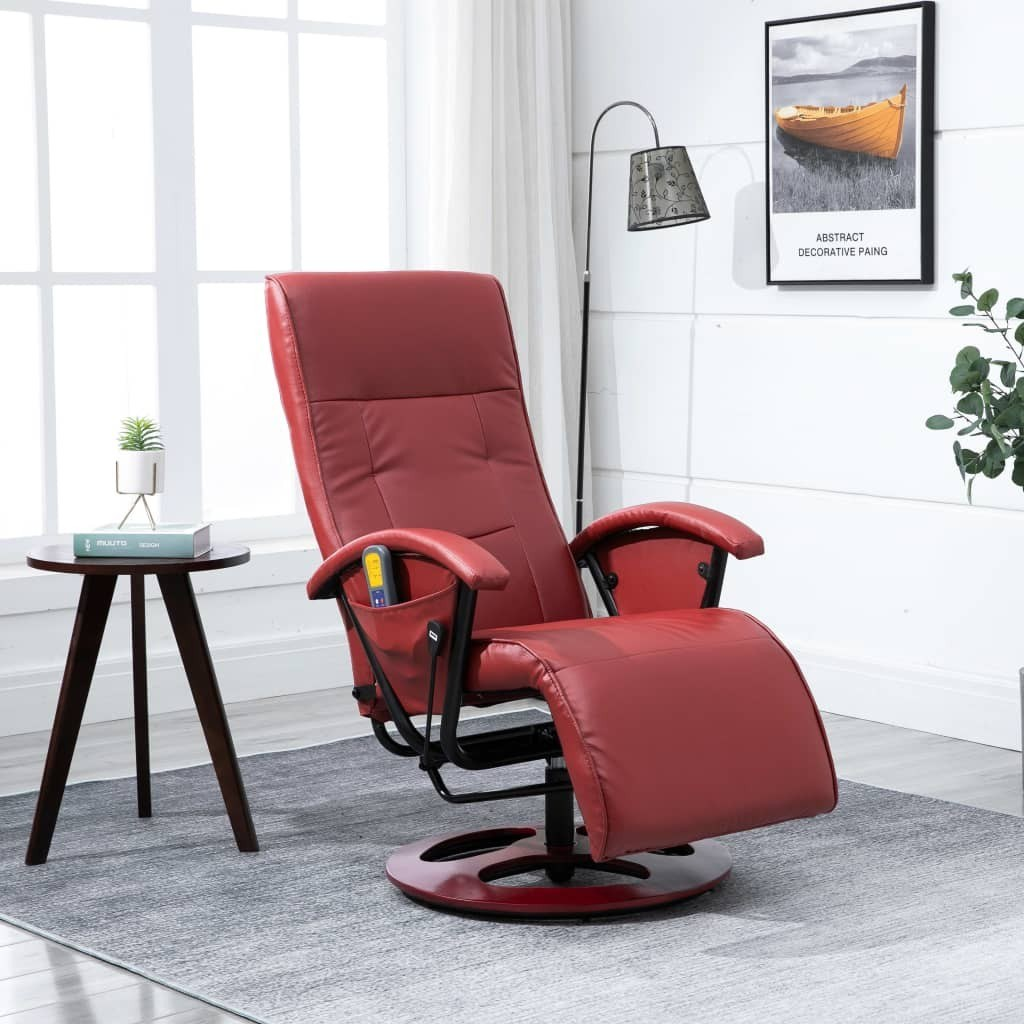 Massage Chair Wine Red Faux Leather