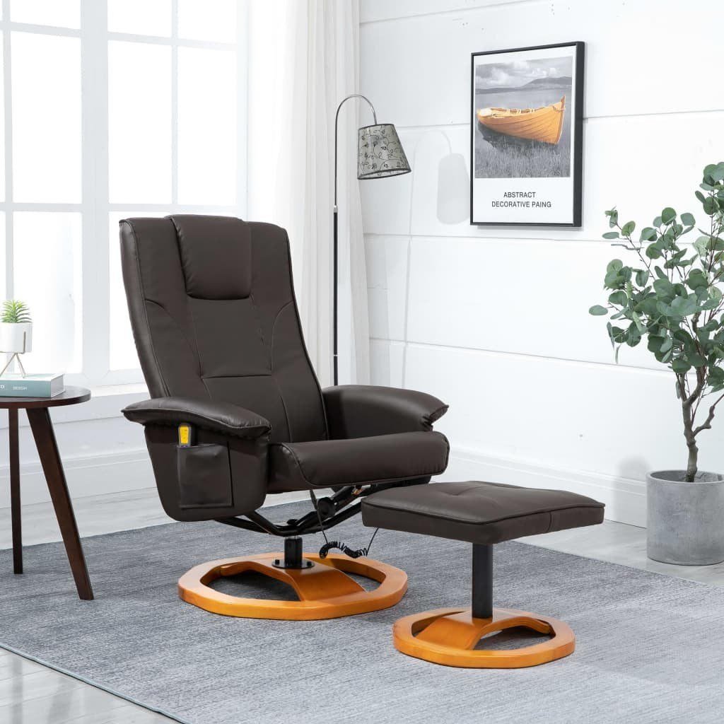 Massage Chair with Foot Stool Brown Faux Leather