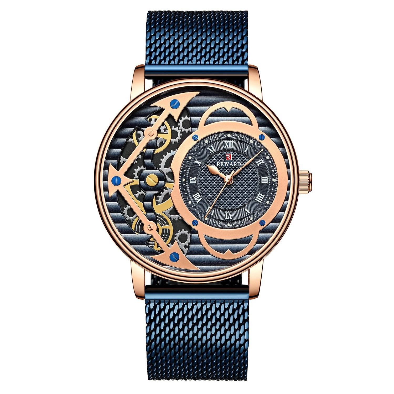 Fashion Skeleton  Mechanical Watch for Men Leisure Business Men Watch Stainless Steel Band Waterproof Male Wristwatch