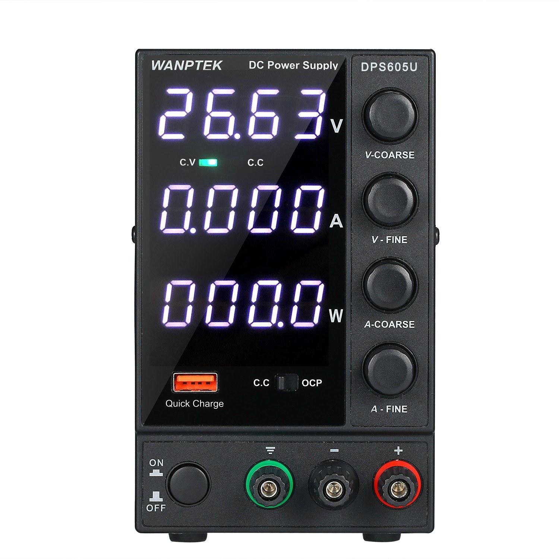WANPTEK DPS605U 0-60V 0-5A 300W Switching DC Power Supply 4 Digits Display LED High Precision Adjustable Mini Power Supply AC 115V/230V 50/60Hz
