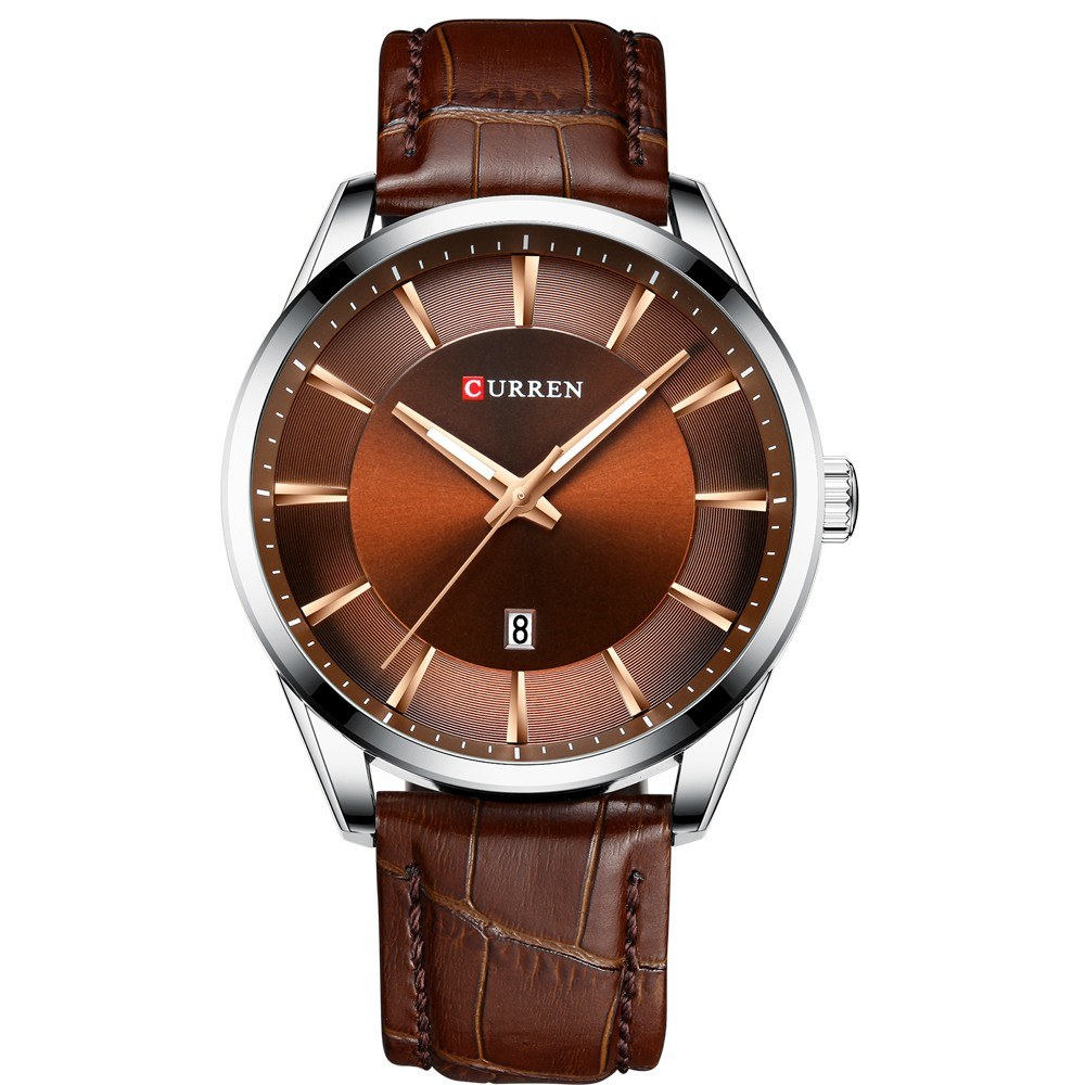 CURREN 8365 Quartz Man Wristwatch Watch for Male with Leather Strap Band Calendar Indicator Date Waterproof Mens Watches Wearable Accessories