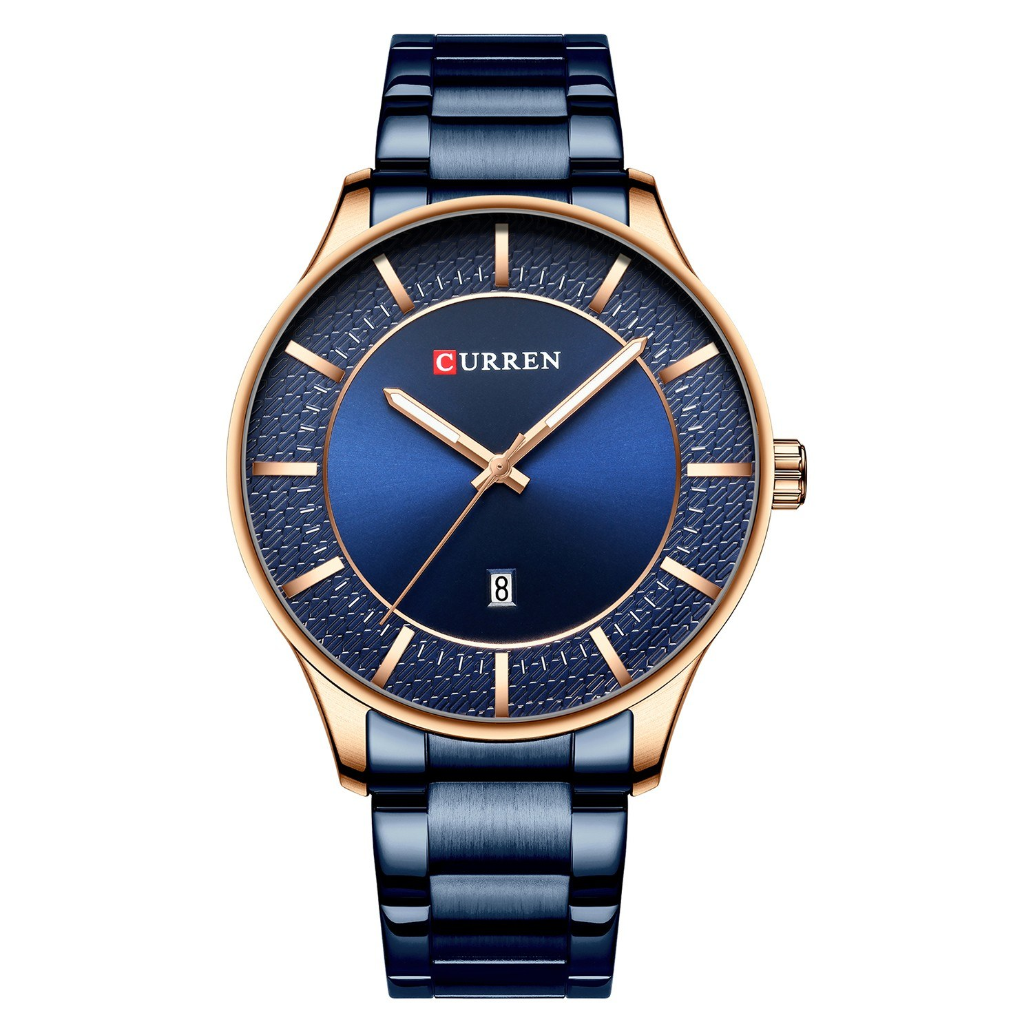 CURREN 8347 Men Wristwatch Wearable Accessories Quartz Watch for Male Watches with Date Waterproof Luminous Pointer Stainless Steel Strap Band