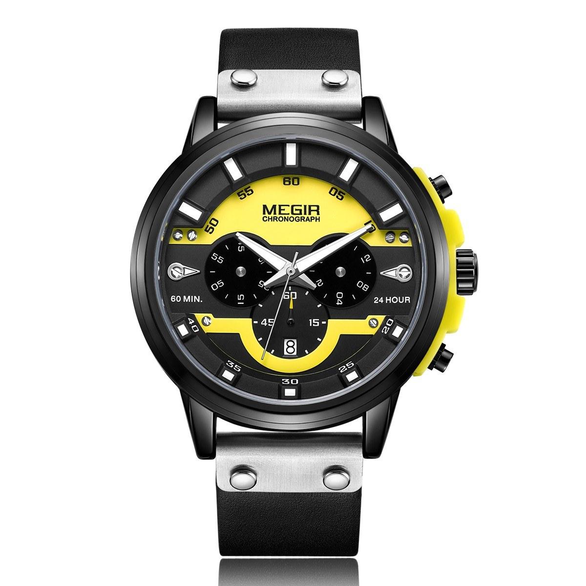 megir 2080 Fashion Quartz Sports Men Watch Multifunctional 3 Dials Chronograph 3ATM Waterproof Luminous Hands Wrist Watch Second/Minute/Hour Chronograph Sub-dials Calendar with Leather Strap