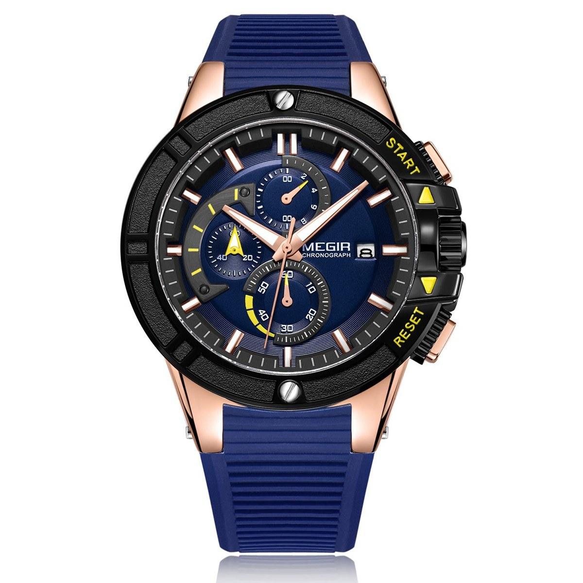megir 2095 Business Quartz Sports Men Watch 3ATM Waterproof Big Dial Large Face Luminous Wrist Watch Microsecond Second Minute Chronograph Sub-dials Calendar Clock with Silicone Strap Band for Men