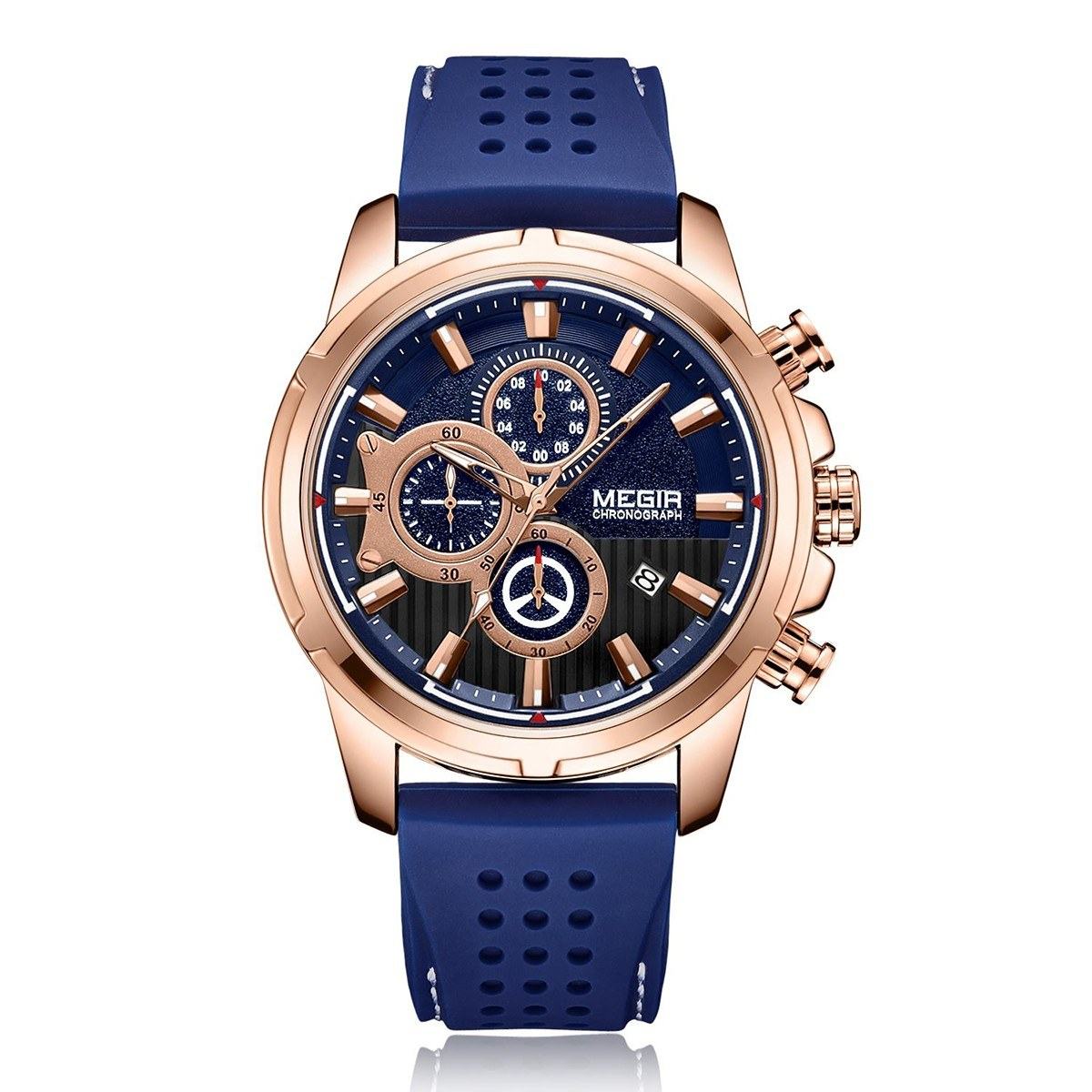 megir 2101 Business Quartz Sports Men Watch 3ATM Waterproof Big Dial Large Face Wrist Watch Microsecond Second Minute Chronograph Sub-dials Calendar Clock for Men with Silicone Strap Band