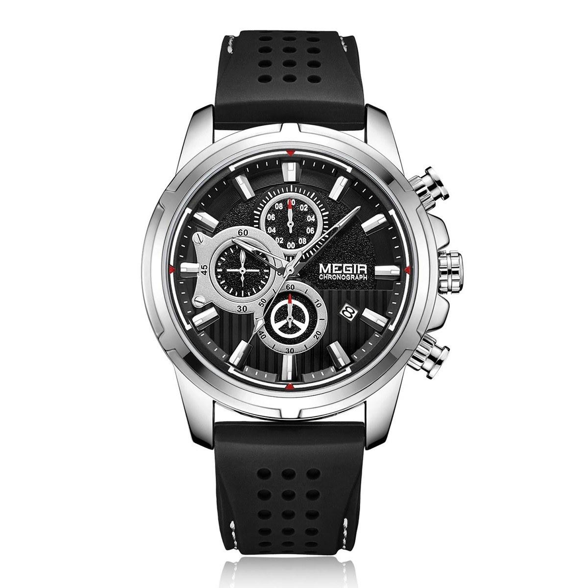megir 2101 Business Quartz Sports Men Watch 3ATM Waterproof Big Dial Large Face Wrist Watch Microsecond Second Minute Chronograph Sub-dials Calendar Clock for Men with Silicone Strap Band