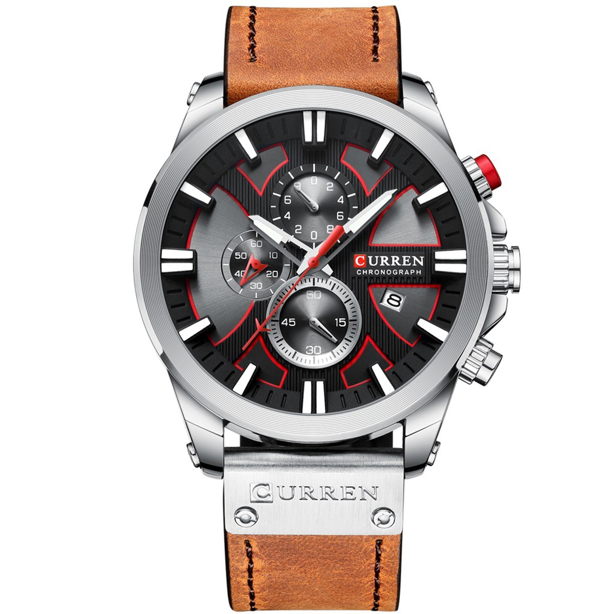 CURREN 8346 Luxury Business Quartz Movement Men Watch 3ATM Waterproof Big Dial Large Face Luminous Sports Wrist Watch Microsecond Second Minute Chronograph Sub-dials Calendar Clock Wristwatch for Male with Imitation Leather Strap Band