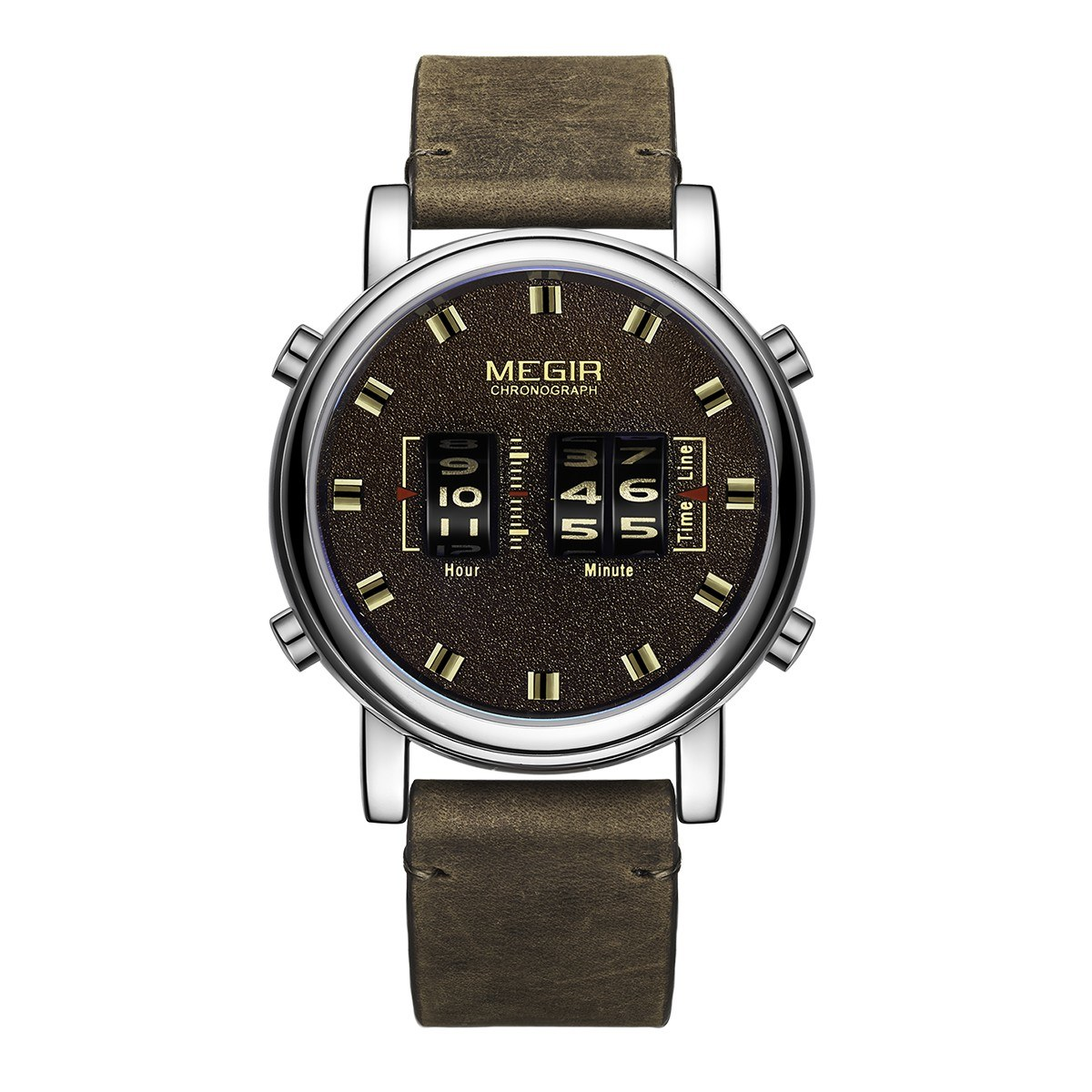 MEGIR 2137 Military Army Quartz Men Watch 3ATM Waterproof Drum-Type Roller Wrist Watch Outdoor Sports Clock Wristwatch with Leather Strap Band