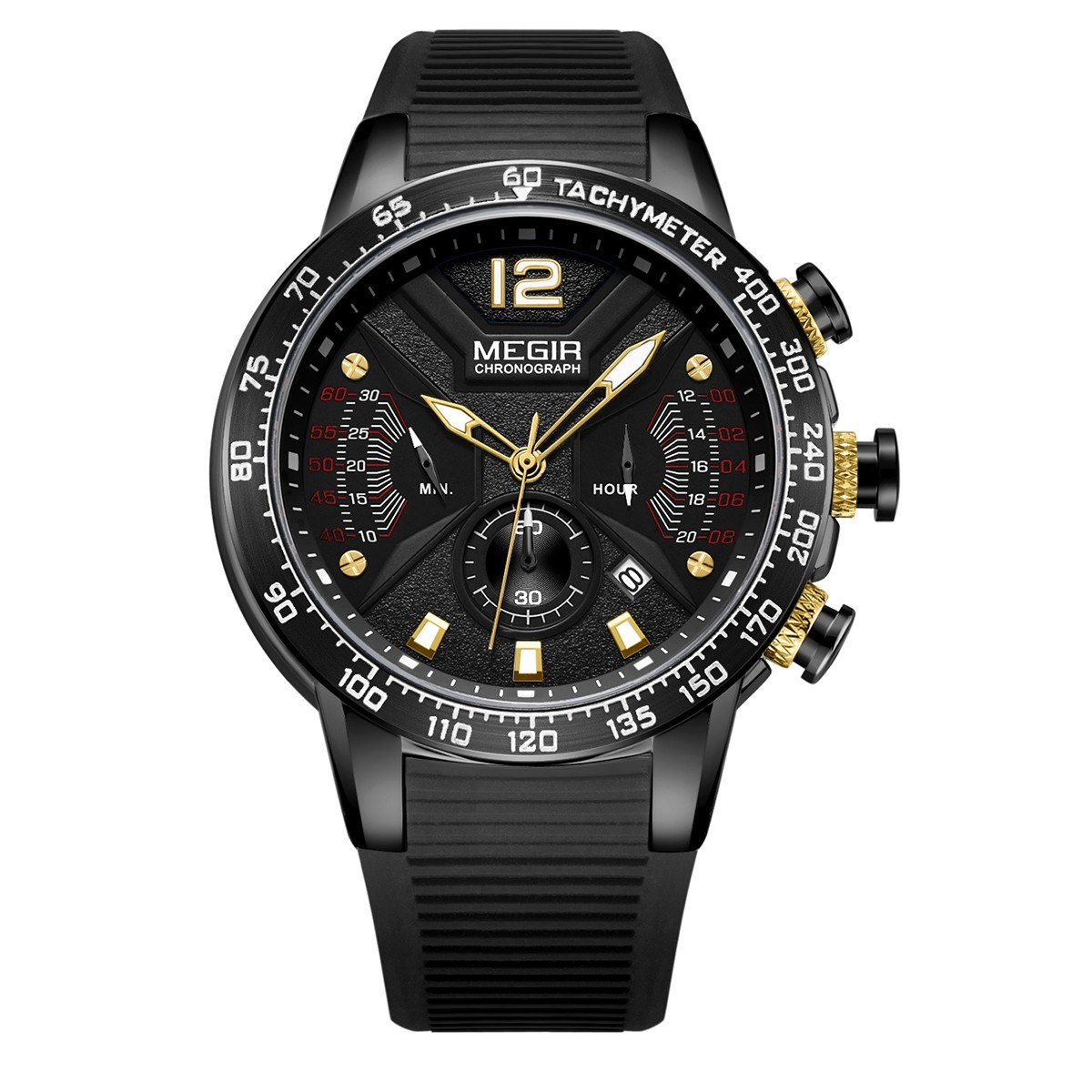 MEGIR 2106 Military Army Quartz Men Watch 3ATM Waterproof Luminous Sport Clock Wrist Watch with Chronograph Second Minute 24-Hours Sub-Dials Calendar Indicator Luxury Wristwatch for Male with Silicone Strap Band