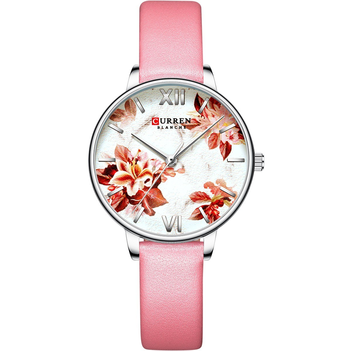 CURREN 9060 Luxury Casual Business Quartz Women Watch Flower Dial Elegant Exquisite Lady Wrist Watch 3ATM Waterproof Clock Wristwatch for Female Ladies with Imitation Leather Strap Band