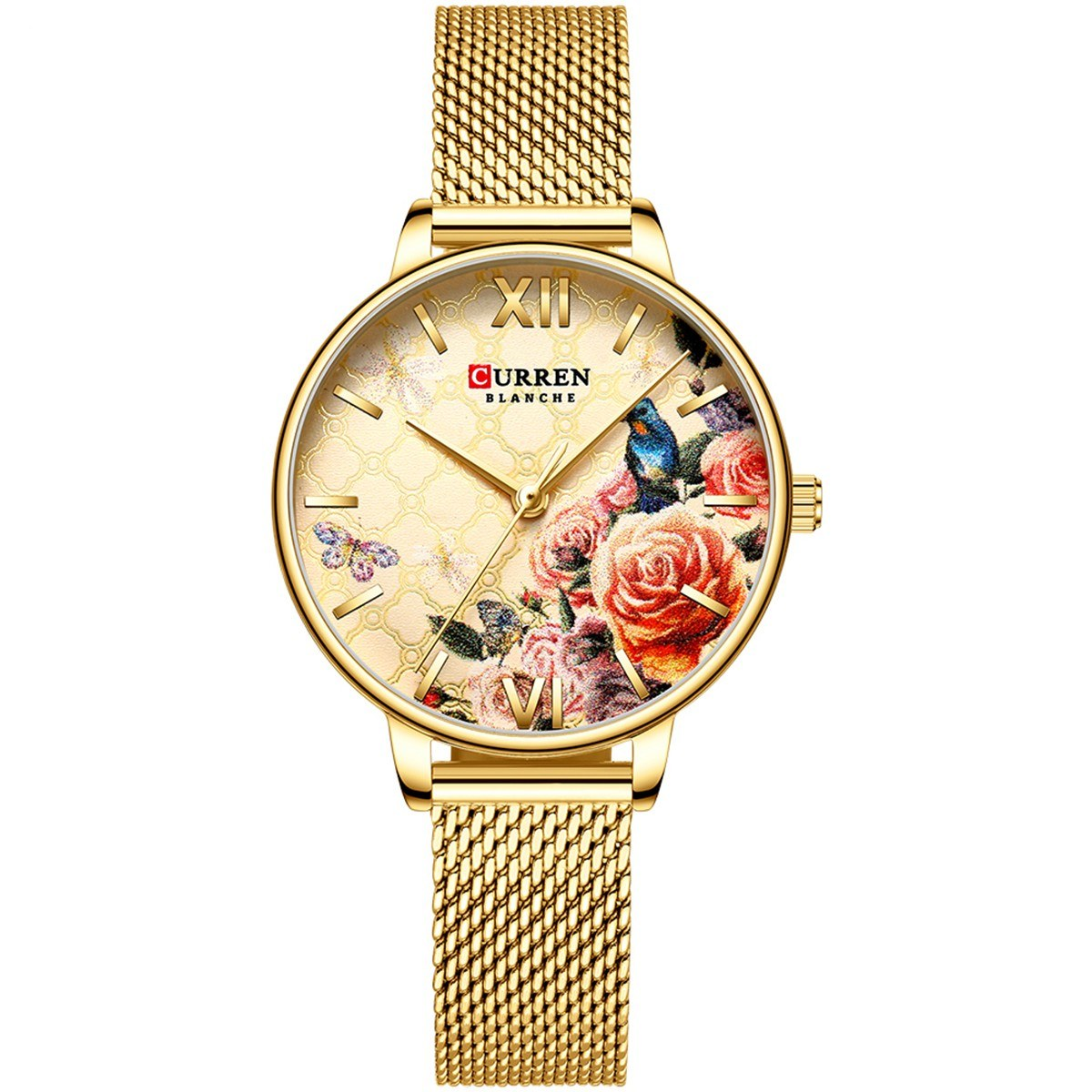 CURREN 9060 Luxury Casual Business Quartz Women Watch Flower Dial Elegant Exquisite Lady Wrist Watch 3ATM Waterproof Clock Wristwatch for Female Ladies with Stainless Steel Mesh Strap Band