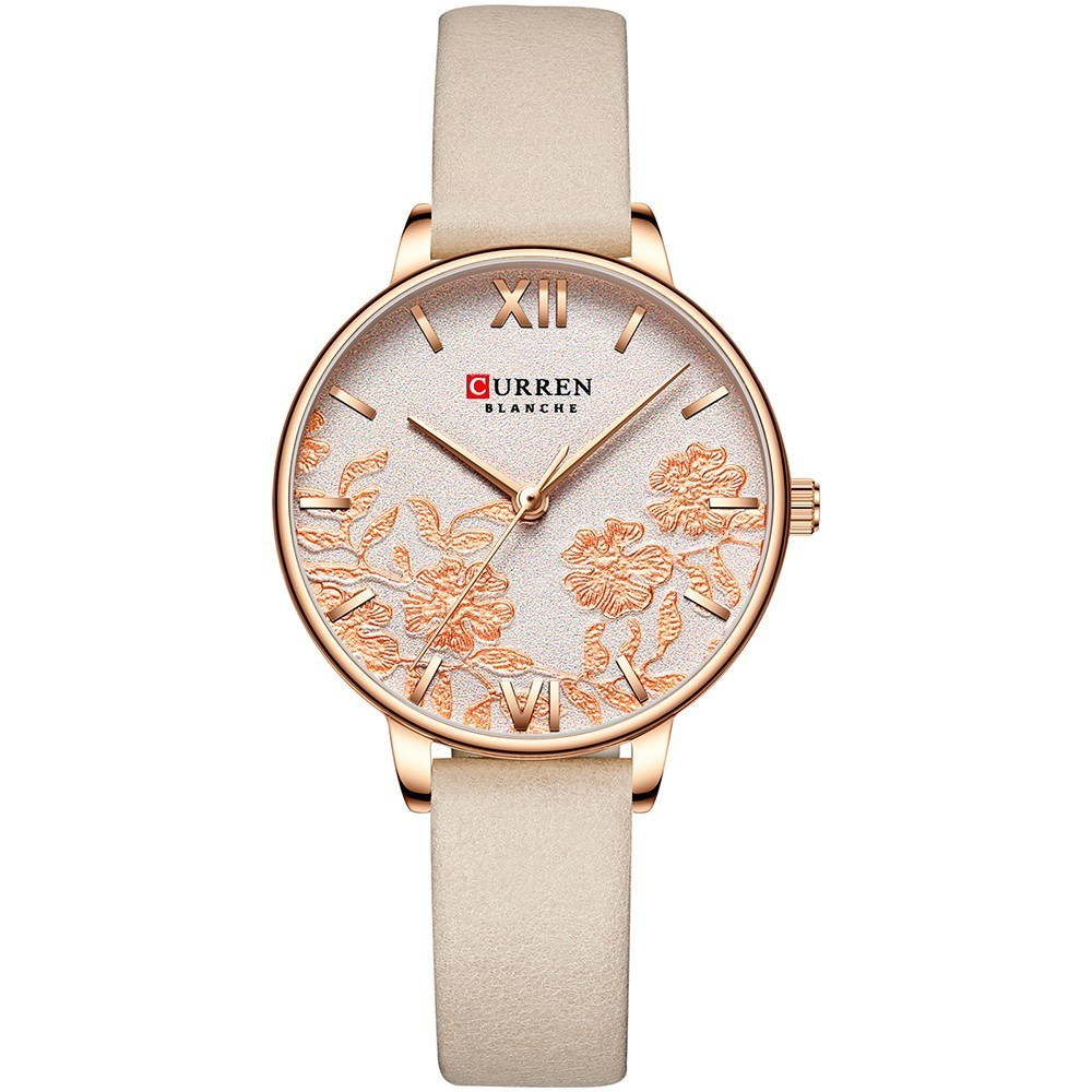 CURREN 9065 Elegant Exquisite Casual Business Quartz Women Watch Sakura Flower Embossed Ultra Thin Slim Simple Wrist Watch 3ATM Waterproof Wristwatch for Ladies with Imitation Leather Strap Band