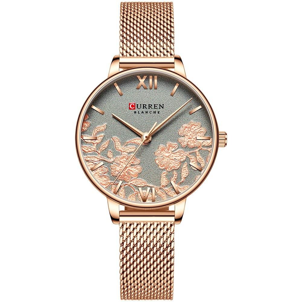CURREN 9065 Elegant Exquisite Casual Business Quartz Women Watch Sakura Flower Embossed Simple Wrist Watch 3ATM Waterproof Wristwatch for Ladies with Metal Mesh Strap Band