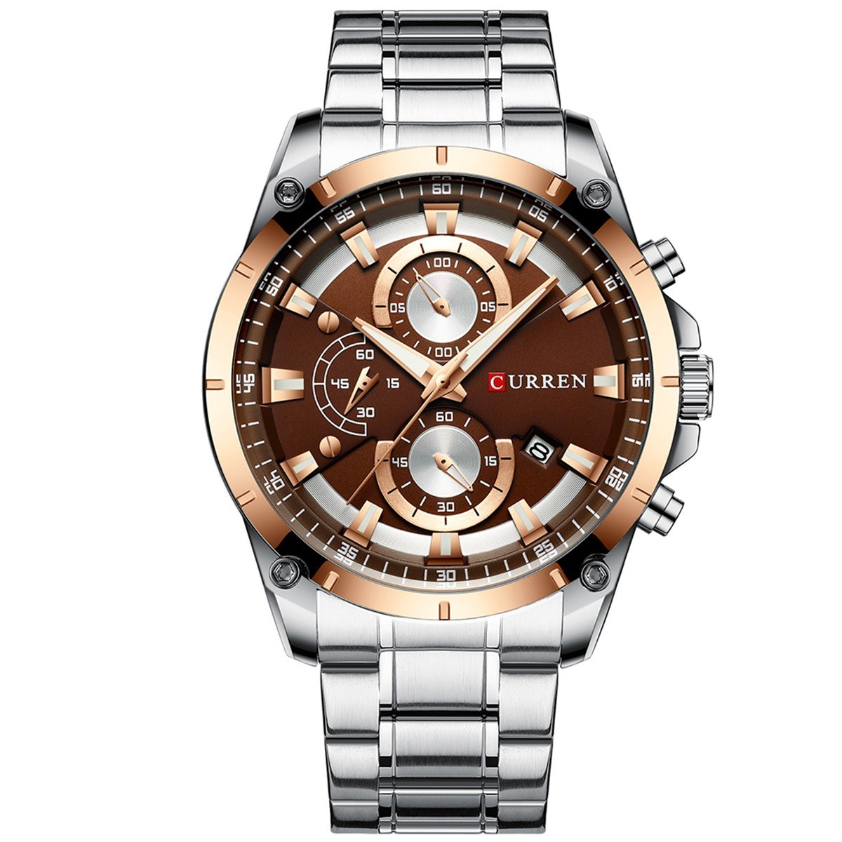 CURREN 8360 Luxury Business Classic Quartz Men Watch 3ATM Waterproof Luminous Wrist Watch Calendar Indicator Three Sub-Dials Second Minute Microsecond Chronograph Wristwatch for Men with Stainless Steel Strap Band