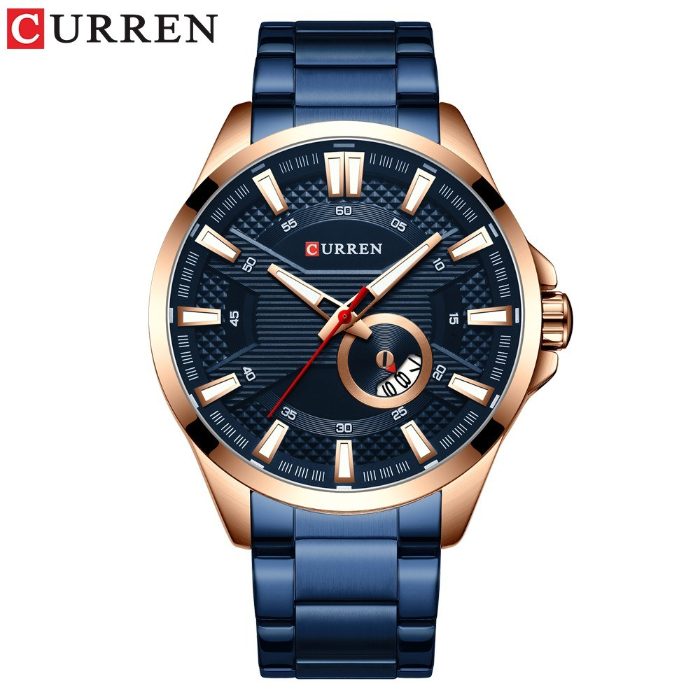 Curren Watch Fashion Men Business Calendar Luminous Hands Quartz Watch Classic Exquisite Alloy Case Stainless Steel Band Waterproof Wrist Watch