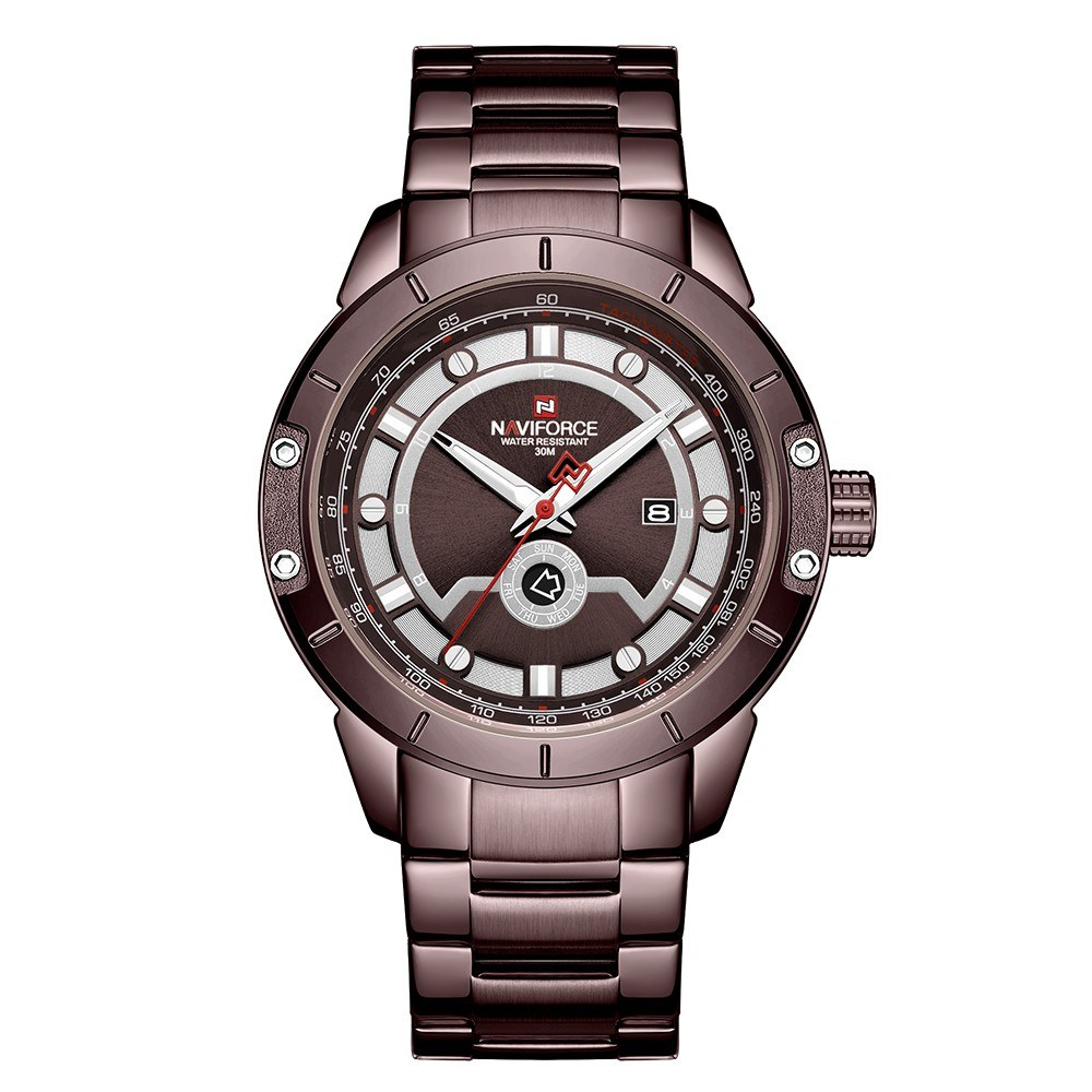 NAVIFORCE Stainless Steel Band Quartz Wristwatch Fashion Outdoor Sports Multifunctional Watch 3ATM Waterproof Luminous Man Watch NF9166 Coffee
