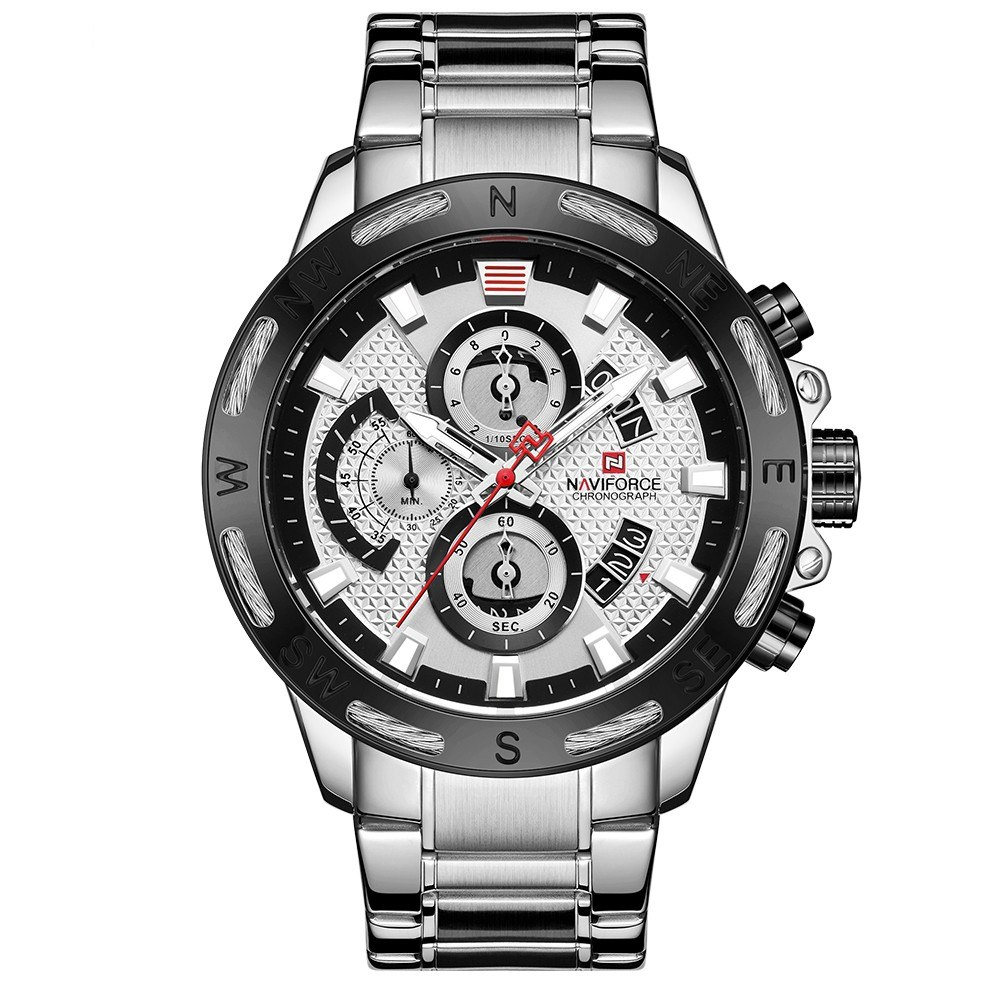 NAVIFORCE Stainless Steel Band Quartz Wristwatch Minute Dial Stopwatch Dial 1/10 Second Dial Fashion Outdoor Sports Multifunctional Watch 3ATM Waterproof Luminous Man Watch NF9165 Silvery
