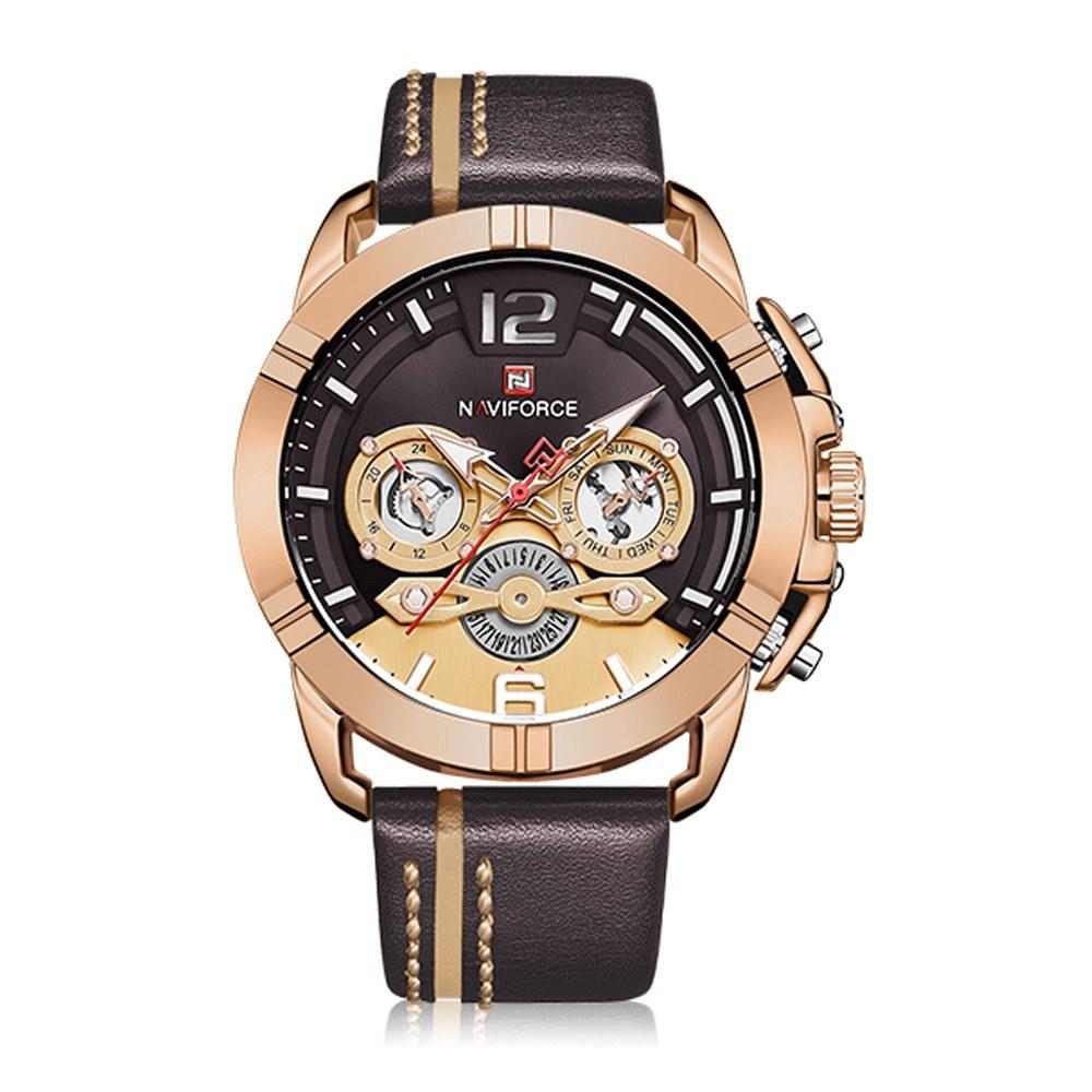 NAVIFORCE Leather Band Quartz Wristwatch Fashion Outdoor Sports Multifunctional Watch 3ATM Waterproof Luminous Man Watch NF9168 Rose Gold