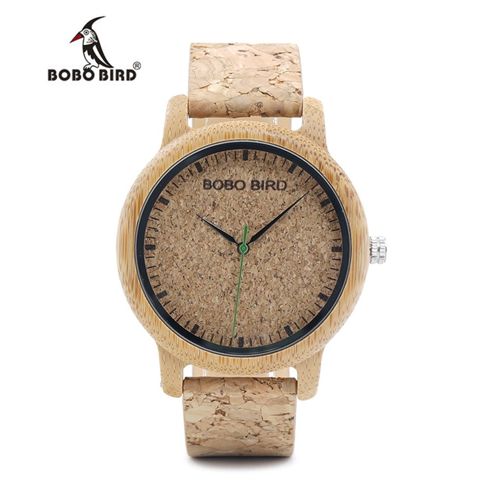 BOBOBIRD M11 Men Women Quartz Watch Bamboo Band  Cork Leather Strap  3ATM Fashion Wristwatch Couples Watches for Wonderful Gorgeous His Her Watch