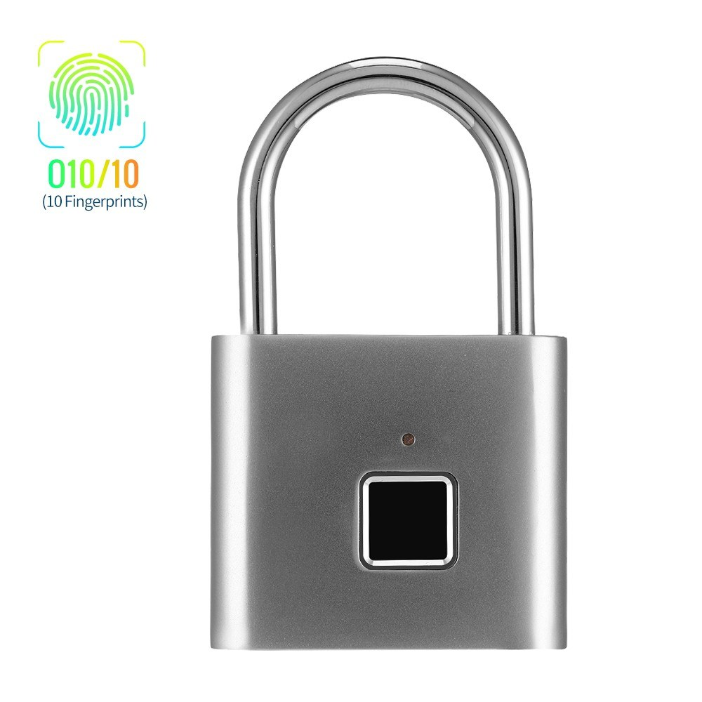 Smart Fingerprint Padlock Small Size Padlock Cabinet Fingerprint Lock Dormitory Anti-theft Lock O10/10 Silvery