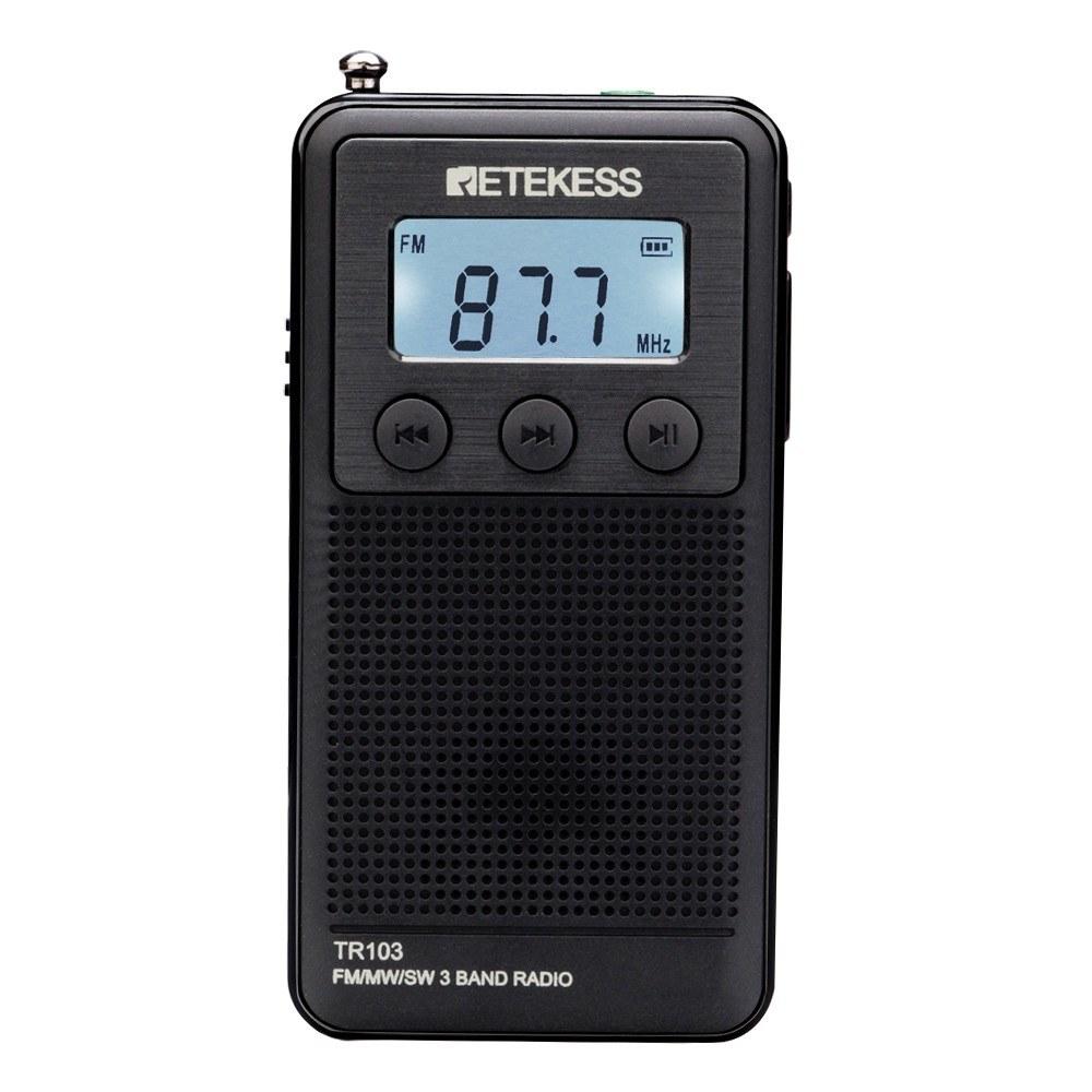 Retekess TR103 FM/MW/SW Radio Portable Pocket Mini Radio Digital Tuning Rechargeable TF Card Slot MP3 Music Player