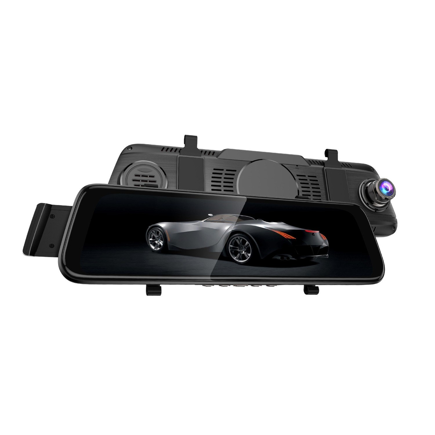 10'' Double Lens Wide Angle Car Mirror Dash Came Multimedia Full Touch Screen DVR Rearview Camera Streaming Video Recorder 1080P External GPS with G-sensor Motion Detection Night