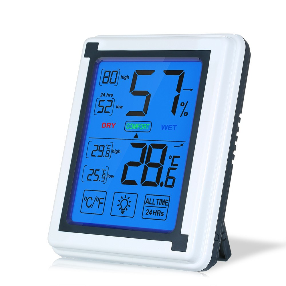 Digital Indoor Thermometer Accurate Temperature Humidity Monitor with Touch LCD Display Numbers Backlight Humidity Gauge Meter for Home Office Greenhouse
