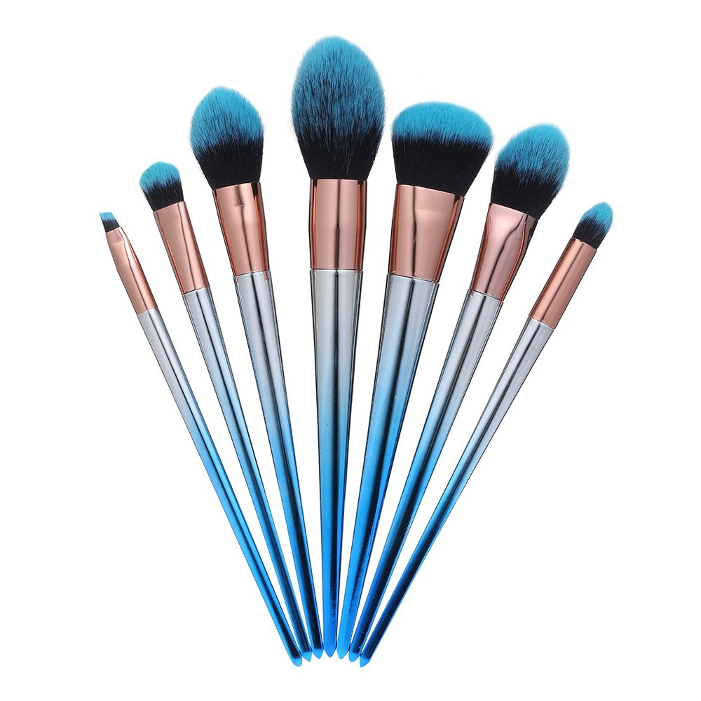 7pcs Makeup Brushes Set Blue Black Gradient Handle Eyeshadow Lip Powder Makeup Tools Cosmetic Brush Kits