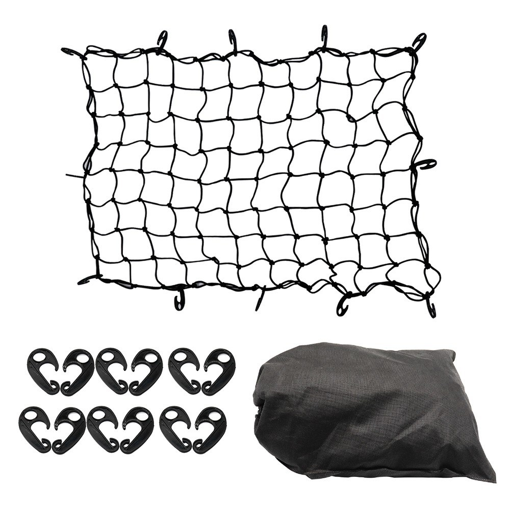 Luggage Net Bungee Cargo Net Strech Super Duty Mesh Holds Adjustable Hooks for Rooftop Cargo Carrier
