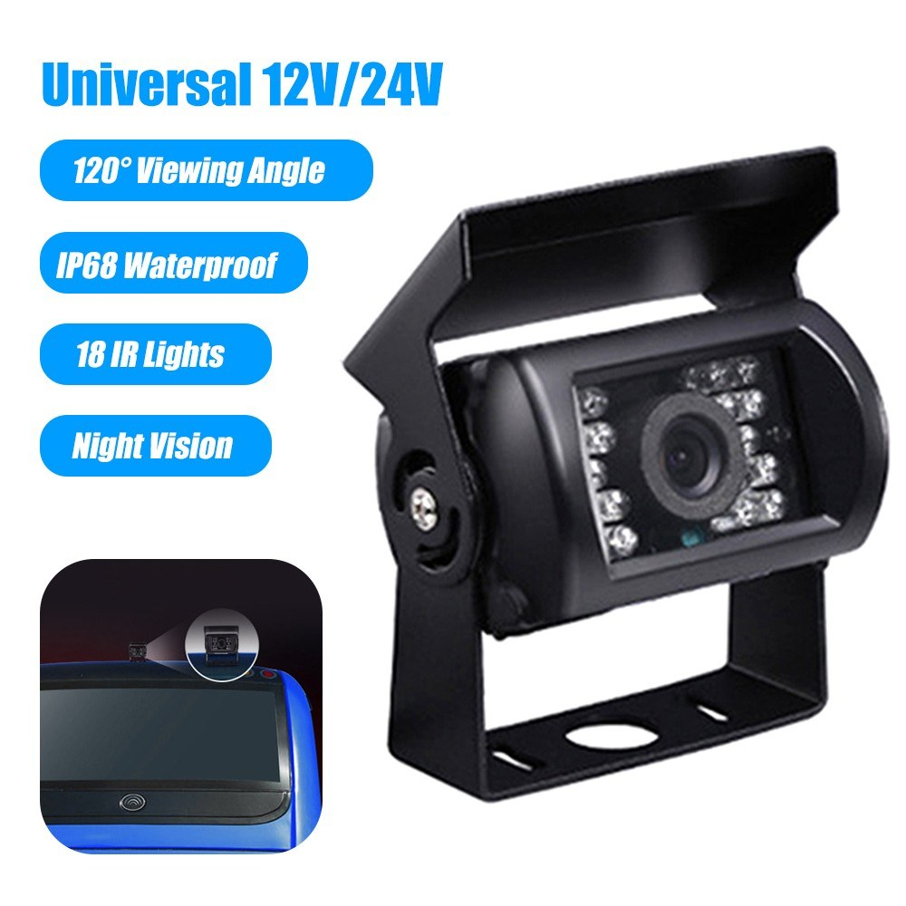 12V/24V Car Backup Camera IP68 Waterproof Rear View Parking Camera 18 IR Lights Night Vision 120° Wide Viewing Angle Reversing Cameras