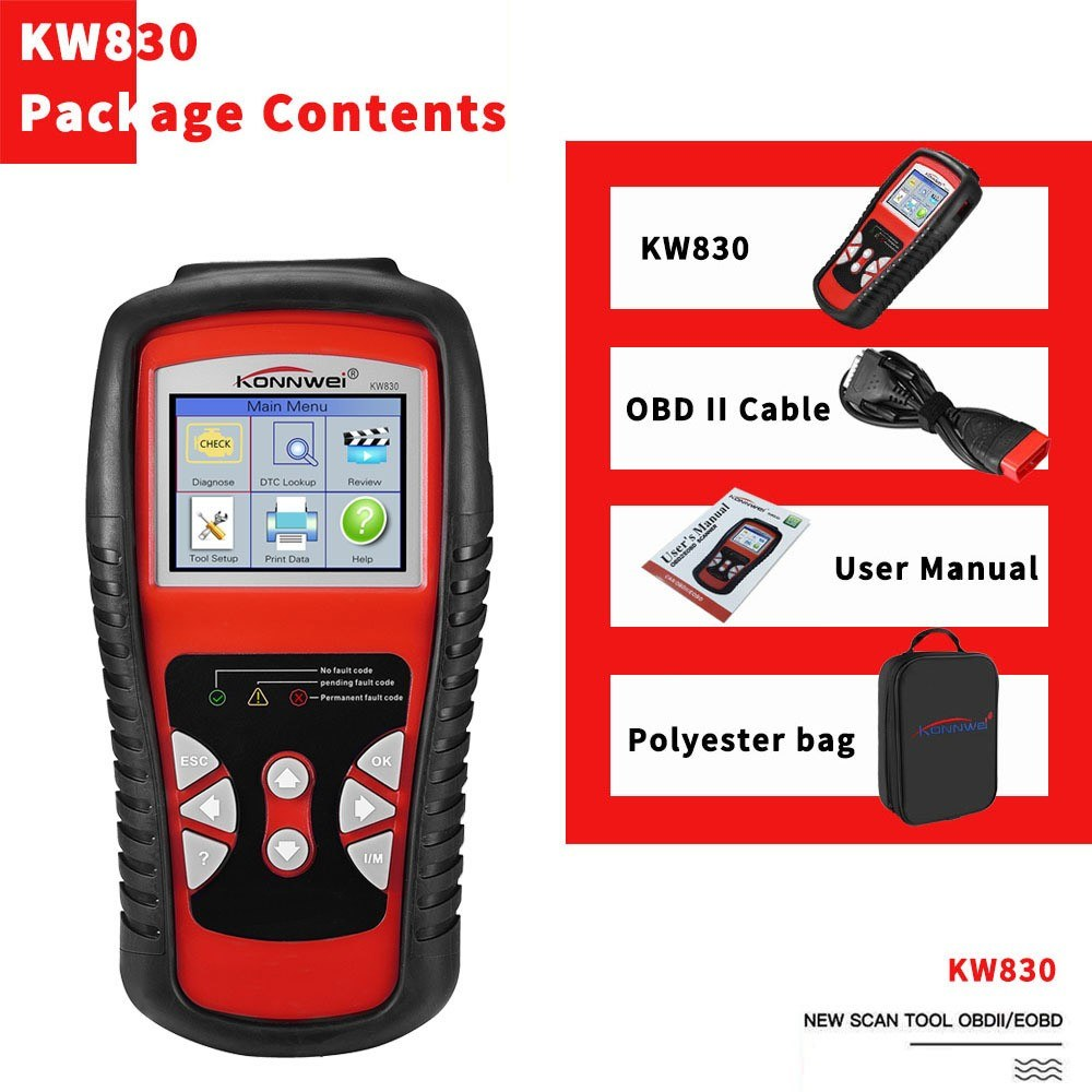KONNWEI OBDII / EOBD Car Diagnostics Auto Scanner Automotive Fault Code Reader Diagnostic Tool Car Detector Automotive Tool KW830