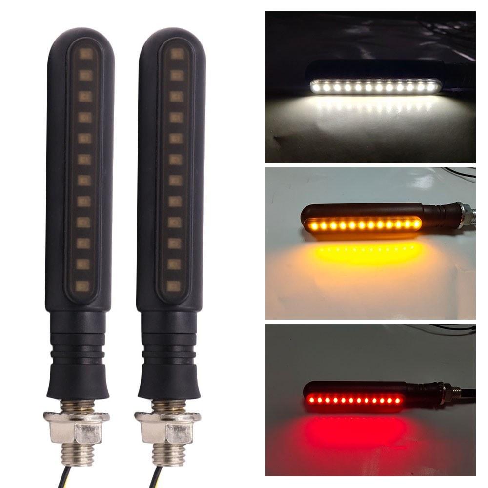Flowing Turn Signal Lamp 24 LED Sequential Indicator Light Daytime Running Light Rear Turn Signal Brake Lamp Universal 2Pcs