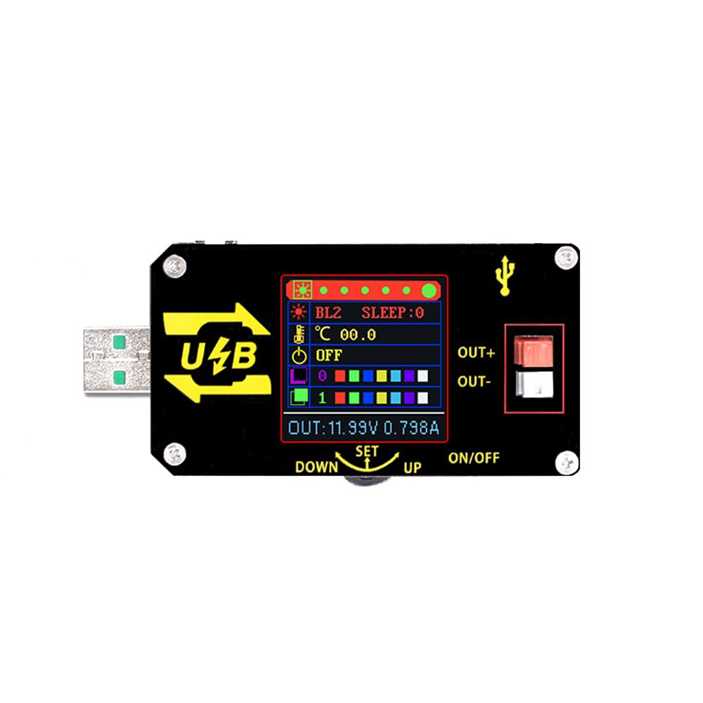 Color Screen USB Voltage Converter Buck Boost Regulator Module Constant Voltage and Current Display 15W