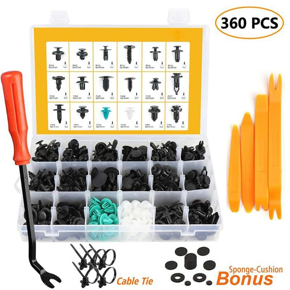 360 PCS Fixing Parts Car Bumper Fixing Clips Rivet Door Panel Rivets Trim Assortment Kit Fasteners Trim Moulding Clip Automotive Furniture Assembly Expansion Screws Kit with Removal Tool Screwdriver  Fastener Remover Reusable Cable Ties Sponge Cushion