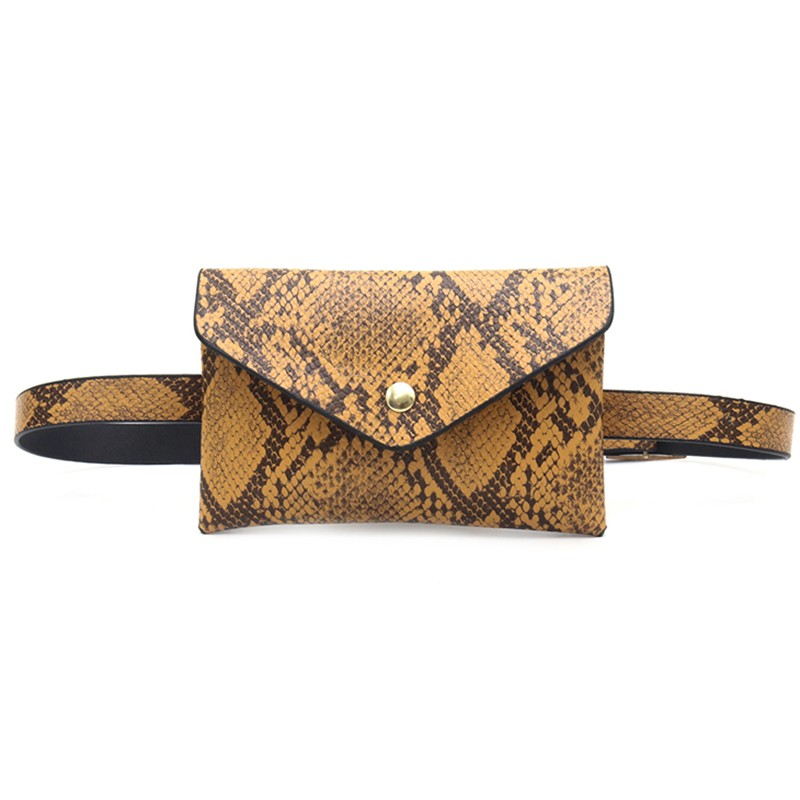 Fashion Women Solid & Snake Printed Belt Bag Serpentine PU Leather Waist Bags Envelope Shoulder Bag Mini Joker Waist Packs