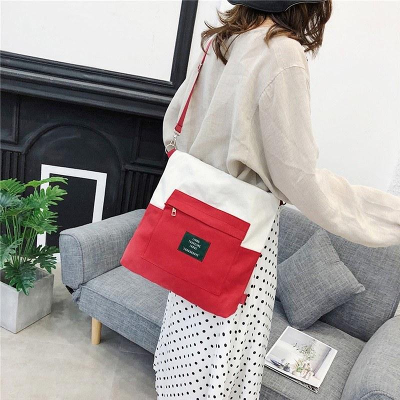 Women Handbag Canvas Color Block LIVING TRAVELING SHARE Letters Zipper Large Capacity Multifunction Shoulder Bag