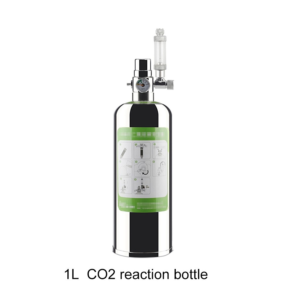 1L Aquarium CO2 Generator System Kit CO2 Stainless Steel Cylinder Generator System Carbon Dioxide Reactor Kit for Plants Aquarium