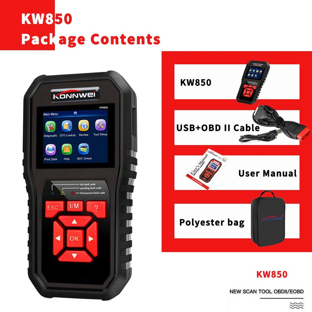 KONNWEI OBDII Scanner Code Reader (KW850) Professional OBDII Anto Scanner Car Diagnostic Check Engine Light Scan Tool for All OBD II Cars Since1996