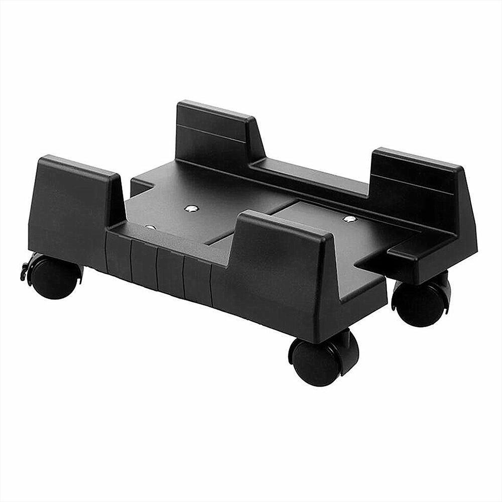 Mobile Desktop Computer Floor Stand Rolling Wheels Adjustable Width PC Tower Holder (Black)