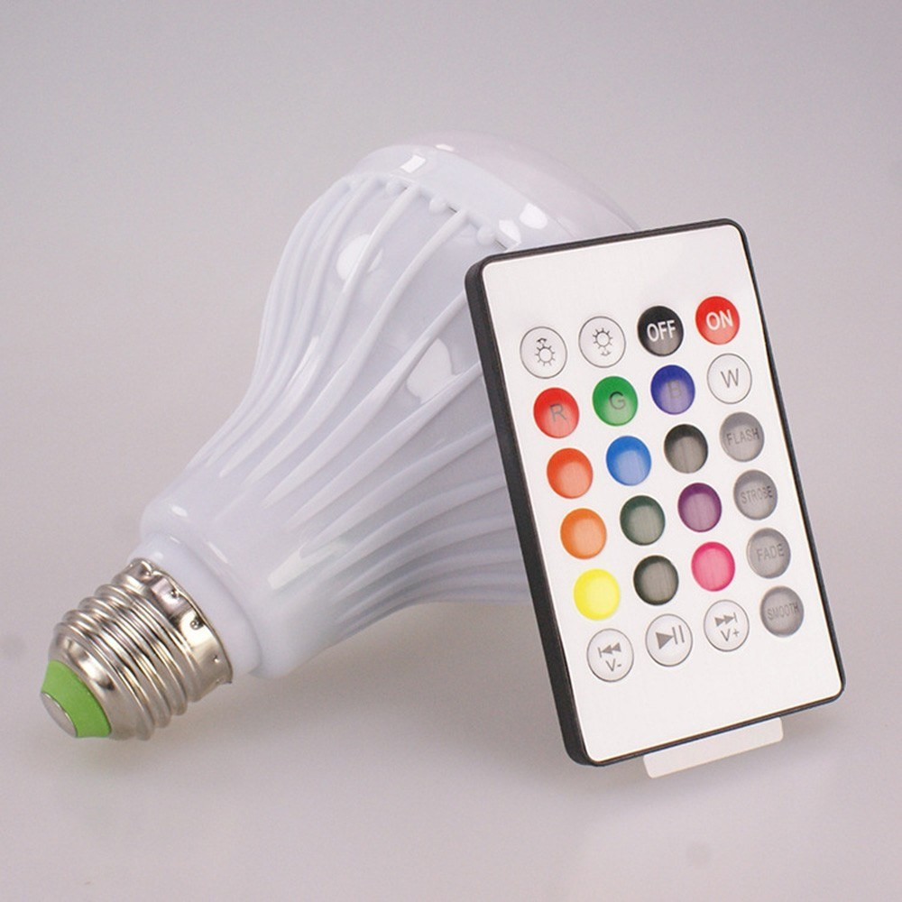 2 in 1 RGB Wireless Bluetooth Speaker LED Bulb E27 12W Changing Dimmable With Remote Control Disco Light Music Playing Lamp