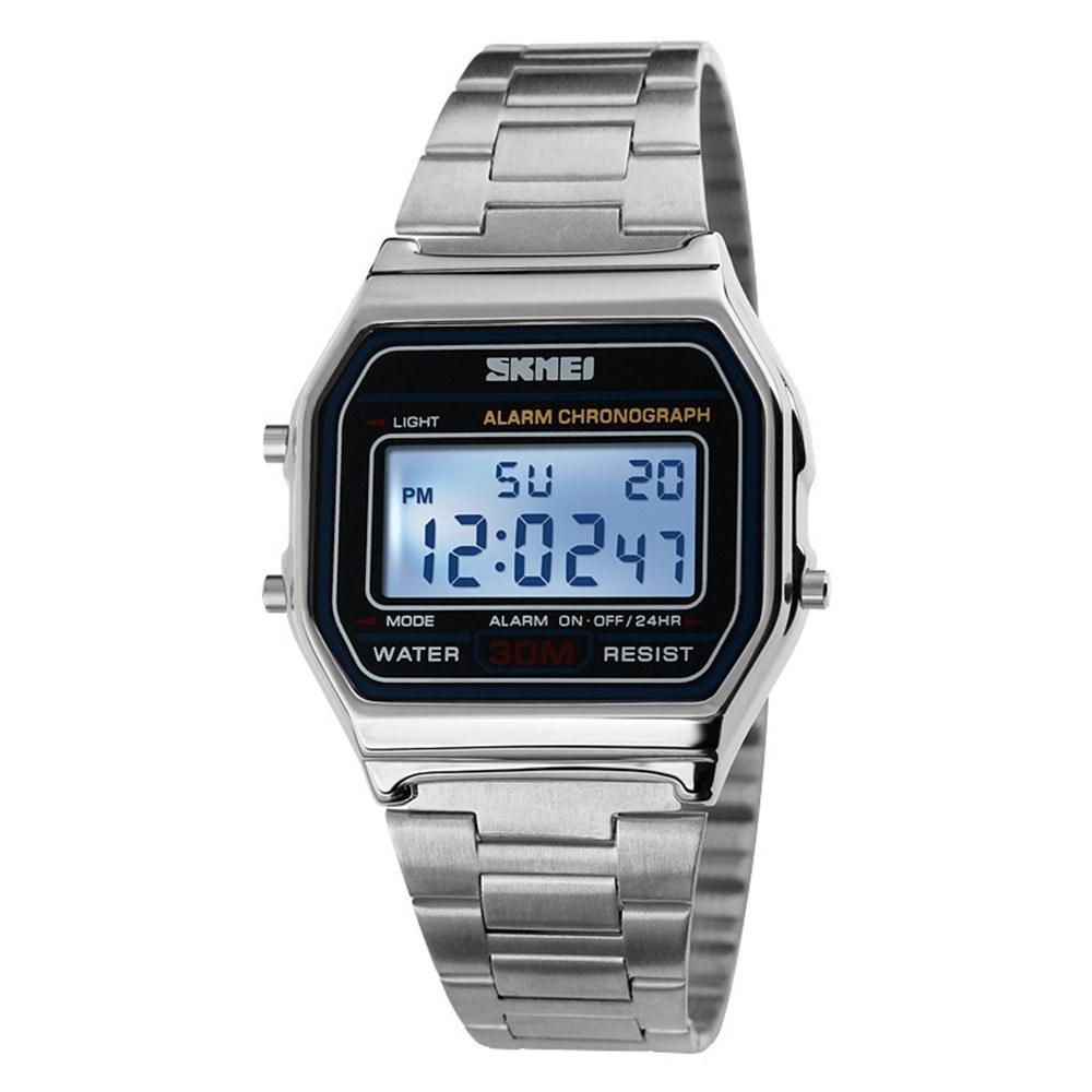Time beauty men's retro business watch waterproof electronic watch trend fashion personality men's watch steel belt light watch Silver