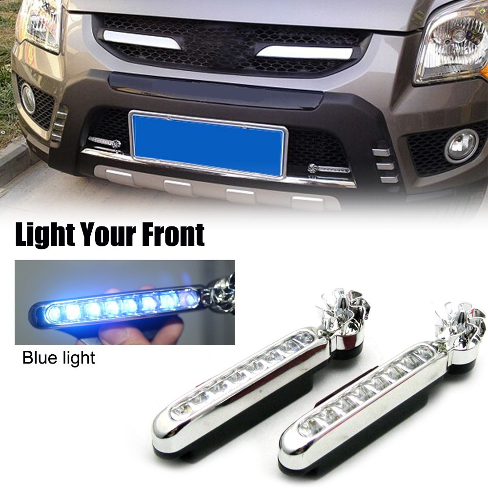 2Pcs Car Daytime Running Light 8 Leds Wind Energy Powered Fog Lamp Auto Universal Waterproof Exterior Light