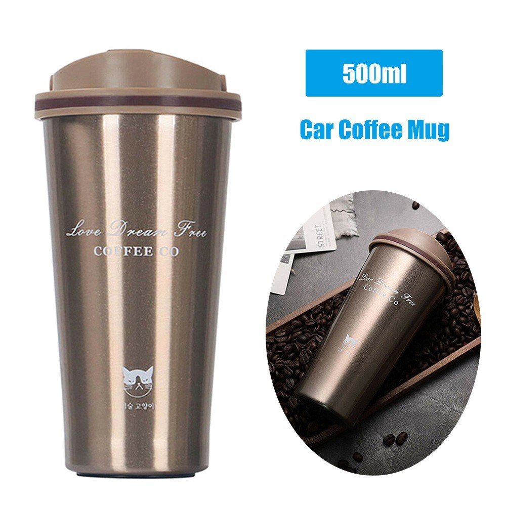 500ml Stainless Steel Car Coffee Cup Leakproof Insulated Thermal Thermos Cup Car Portable Travel Coffee Mug