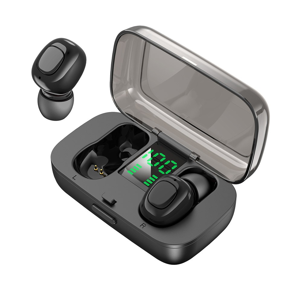 TWS True Wireless Headphones Bluetooth Earbuds Noise Cancelling Earphones 6D Stereo Sound Invisible Bluetooth Headphones with Mic & Portable Charging Case Power Digital Display